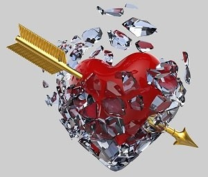 A happy marriage will convert to an unhappy marriage quickly when the ego and self gratification of self is the main goal. Your marriage will incur damage such as a red heart encased in glass pierced by a gold arrow.
