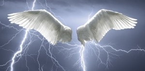 An Unhappy marriage is filled with a lack of purity. Huge white angel wings surrounded by lightening, encourages us to trust in Him.