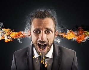 The reasons for divorce? Seeking advice from divorced or unmarried people. Bad move and will cost you in the end. (man with fire and smoke coming out of his ears and mouth with bugged out eyes, in a suit and tie)
