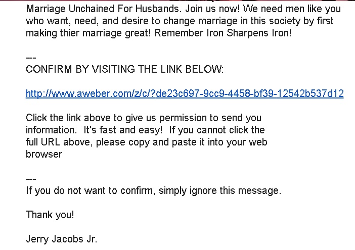 marriage unchained for husbands confirmation email