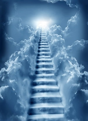 Christian Marriage Advice For Men: your mission? To become holy (sky blue stairs formed in clouds leading to heaven)
