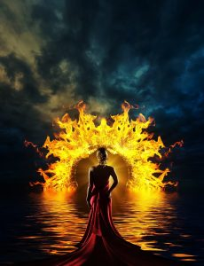 Get rid of your Christian marriage problems once and for all (wife in water wading towards a ring of fire)