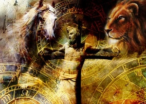 How to save a failing marriage: Become a Holy Lover (Jesus being crucified with a horse and a lion on each side)